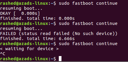 FAILED (status read failed (No such device)) while Fastboot